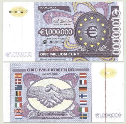 5-PIECE LOT 1,000,000 EUROS NAPLES BANK NOTE COMPANY ...