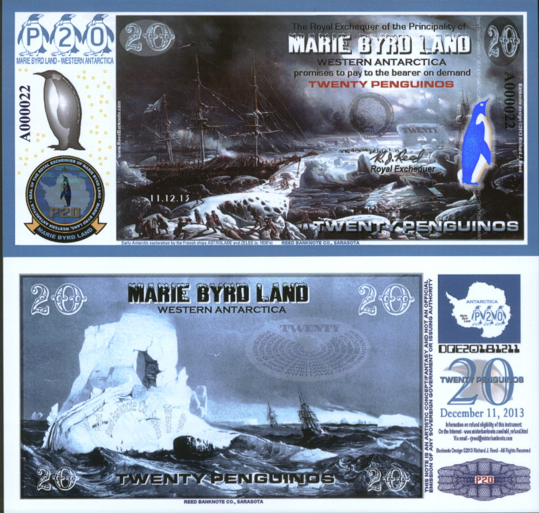 NEW POLYMER 11.12.13 MARIE BYRD LAND 5 PENGUINO REG ISSUE FANTASY ART BANKNOTE!