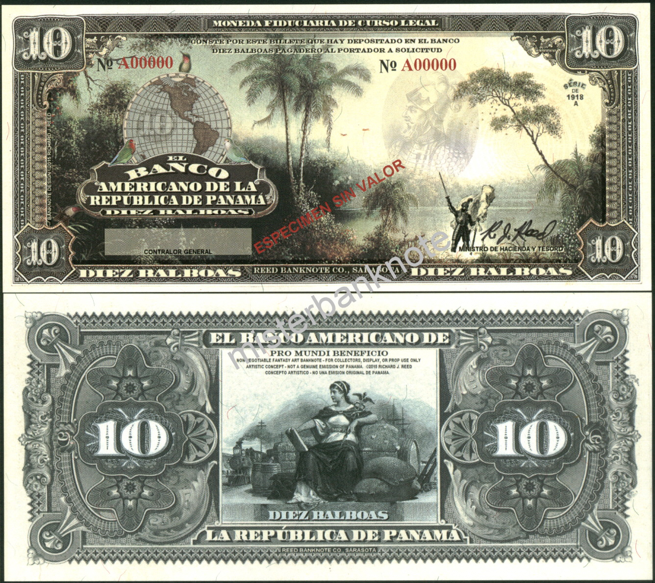 """NEW PANAMA LARGE SIZE /""""SERIES OF 1918A/"""" 500 BALBOA FANTASY ART NOTE BY REED BNC!"""