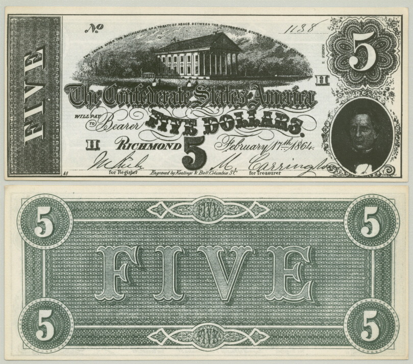 Details about CONFEDERATE STATES $5 SERIES 1864 HOLLYWOOD MOVIE PROP MONEY  STAGE BILL!