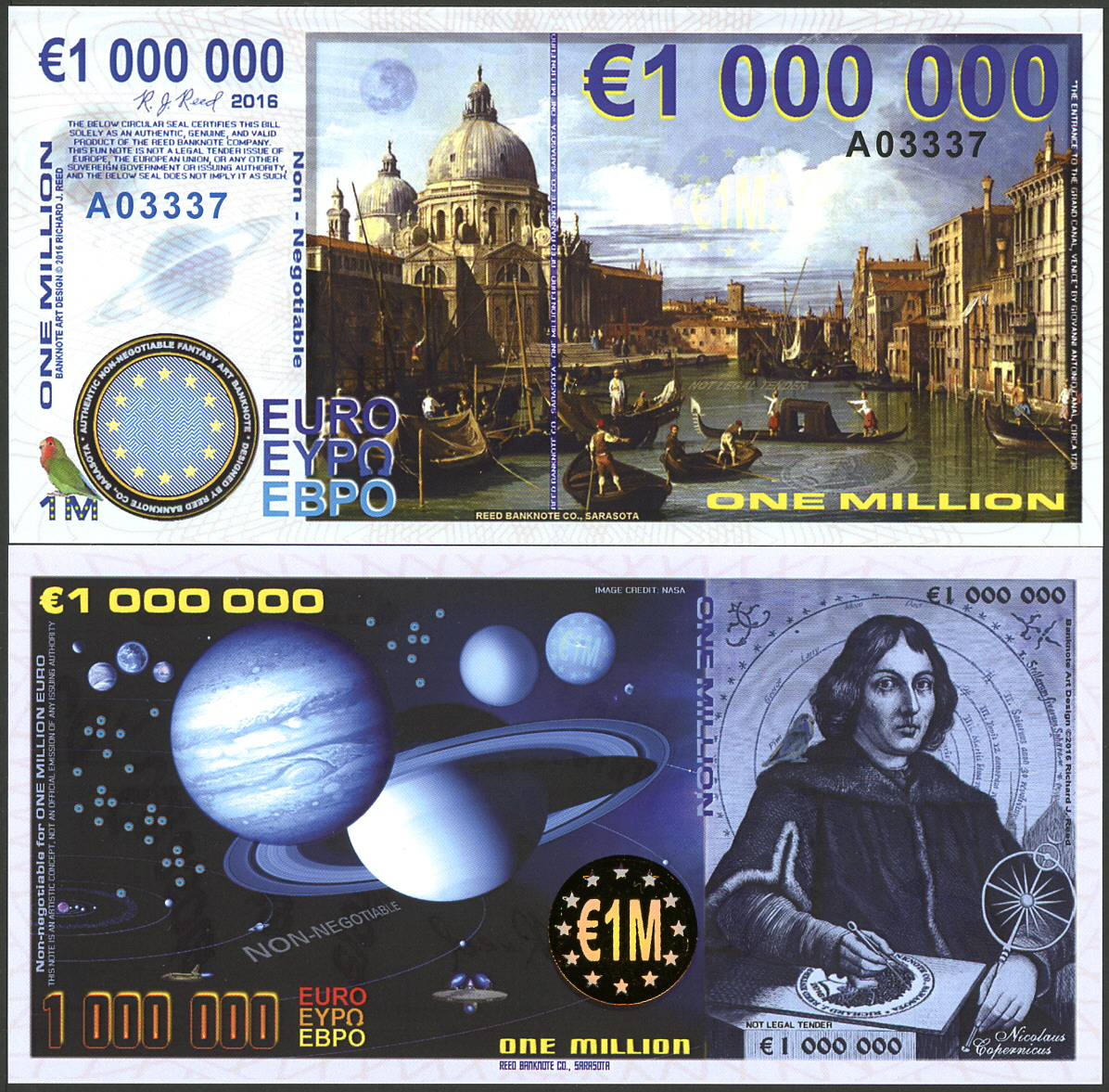 EUROPE ONE MILLION EURO POLYMER COPERNICUS FILM COMMEMORATIVE FANTASY NOTE!